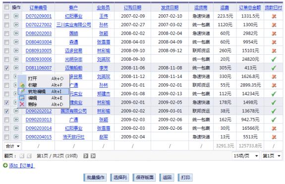 通用信息管理系统-表格视图